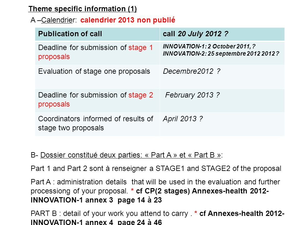 A –Calendrier: calendrier 2013 non publié