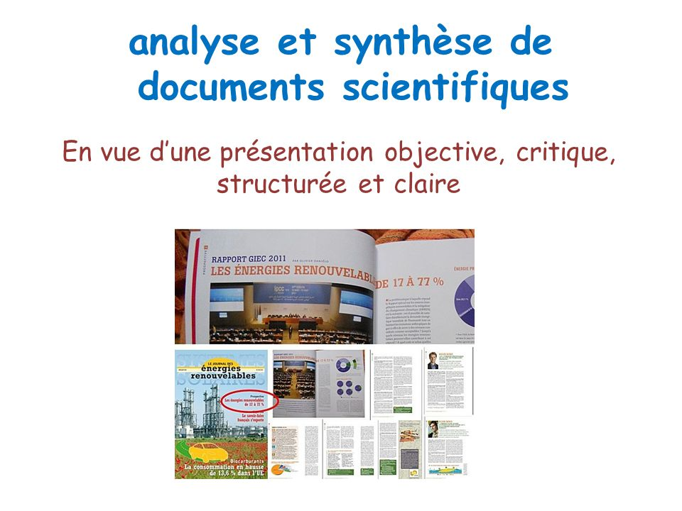 analyse et synthèse de documents scientifiques