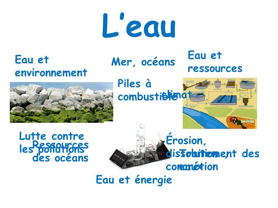 L'eau Eau et ressources Eau et environnement Mer, océans