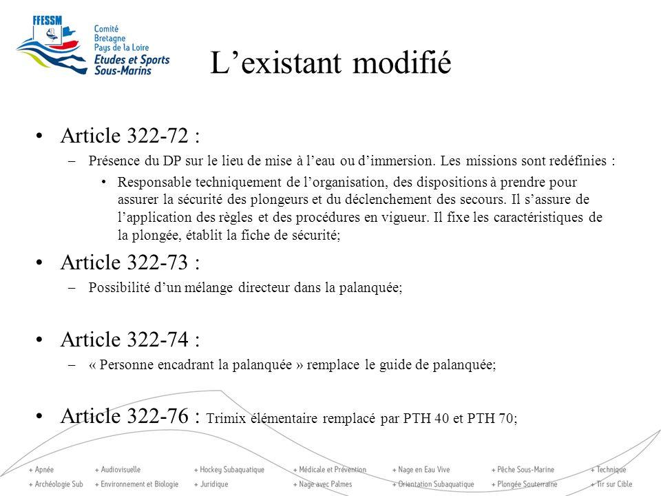 L'existant modifié Article 322-72 : Article 322-73 : Article 322-74 :