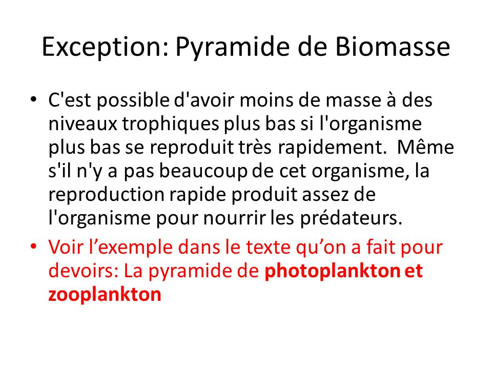 Exception: Pyramide de Biomasse
