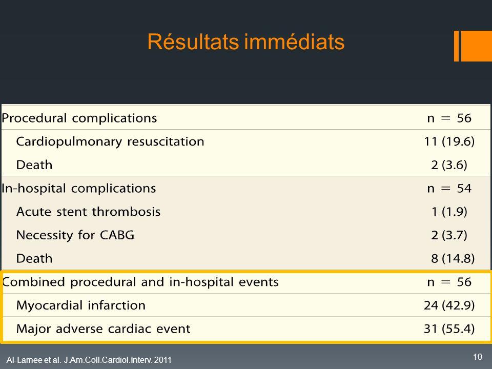 Résultats immédiats Qu' en est-il des résultats cliniques immédiats et durant le séjour hospitalier :