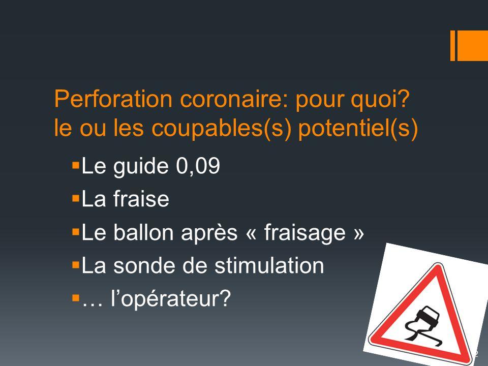 Perforation coronaire: pour quoi le ou les coupables(s) potentiel(s)