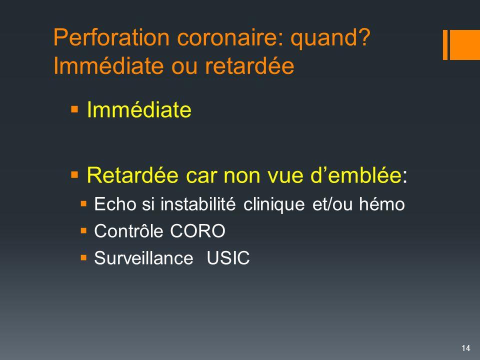 Perforation coronaire: quand Immédiate ou retardée