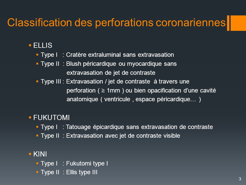 Classification des perforations coronariennes