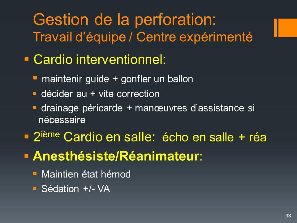 Gestion de la perforation: Travail d'équipe / Centre expérimenté