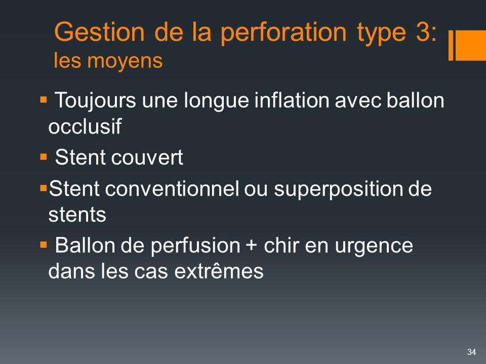 Gestion de la perforation type 3: les moyens