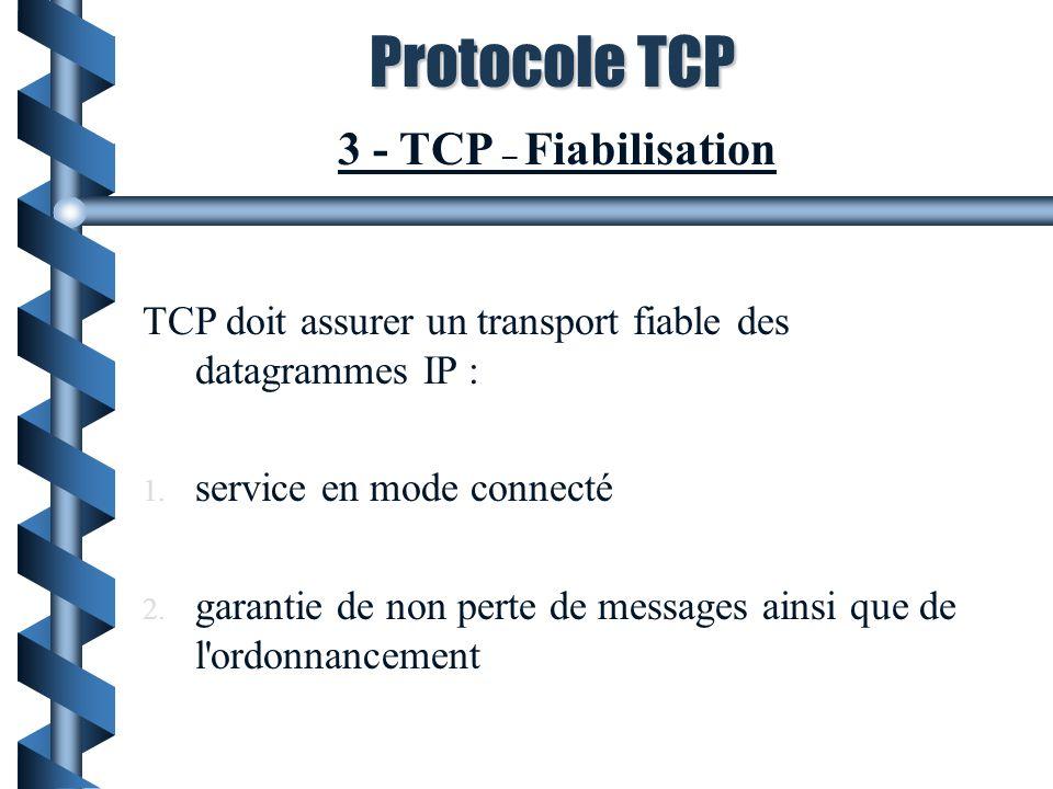 Protocole TCP 3 - TCP – Fiabilisation