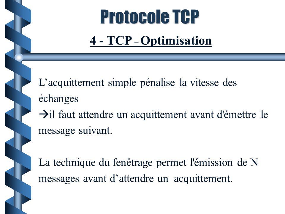 Protocole TCP 4 - TCP – Optimisation