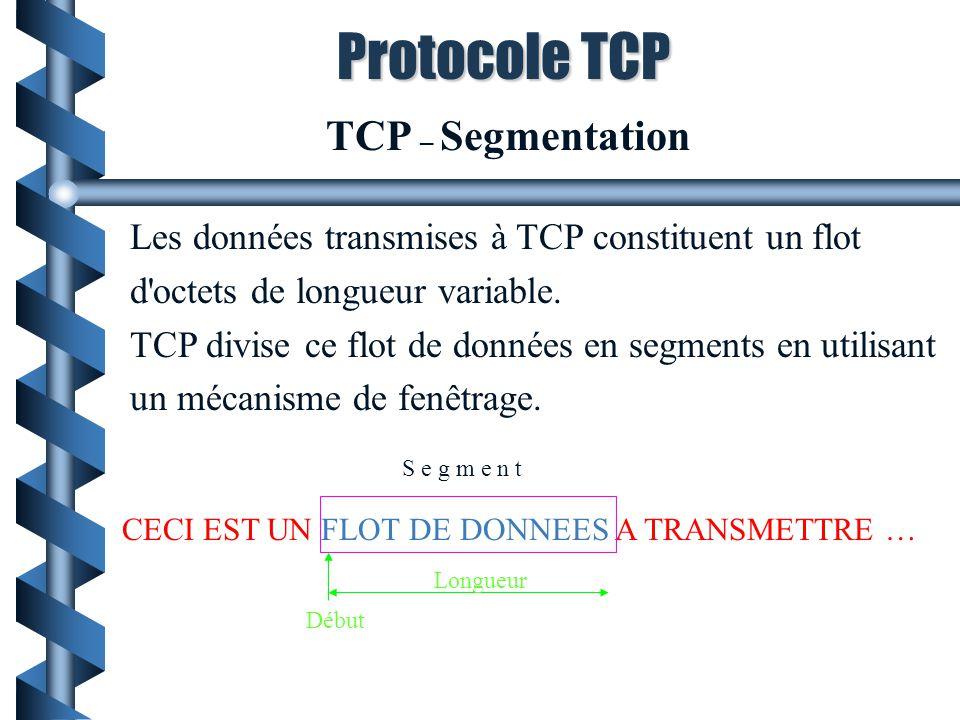Protocole TCP TCP – Segmentation
