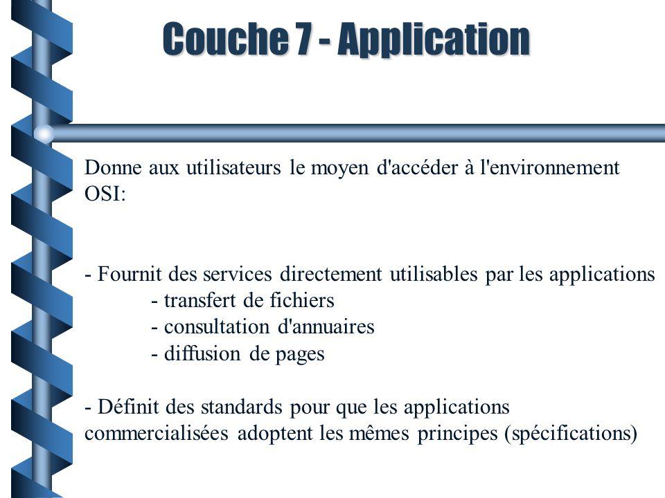 Couche 7 - Application Donne aux utilisateurs le moyen d accéder à l environnement OSI: