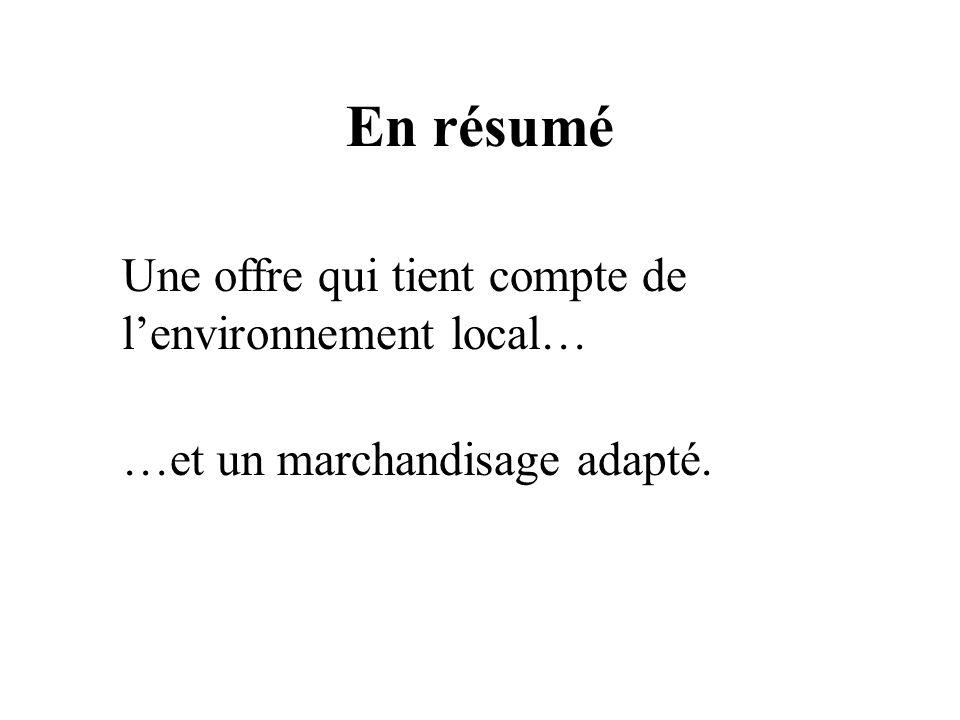 En résumé Une offre qui tient compte de l'environnement local…