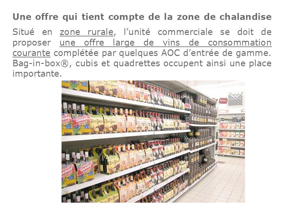 Une offre qui tient compte de la zone de chalandise Situé en zone rurale, l'unité commerciale se doit de proposer une offre large de vins de consommation courante complétée par quelques AOC d'entrée de gamme.