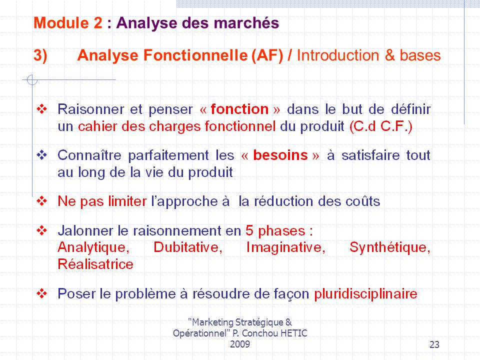 Analyse Fonctionnelle (AF) / Introduction & bases