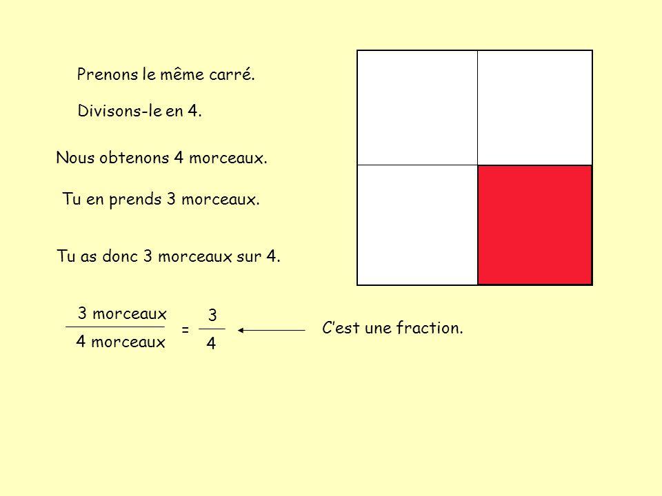 Prenons le même carré. Divisons-le en 4. Nous obtenons 4 morceaux. Tu en prends 3 morceaux. Tu as donc 3 morceaux sur 4.