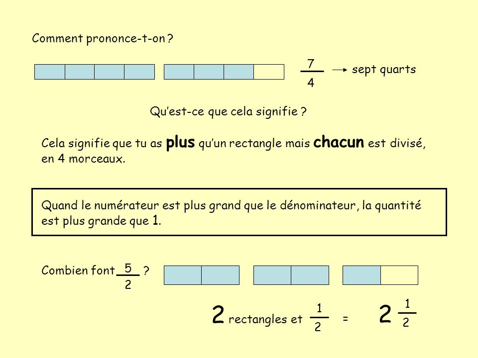 2 rectangles et 2 Comment prononce-t-on 7 sept quarts 4