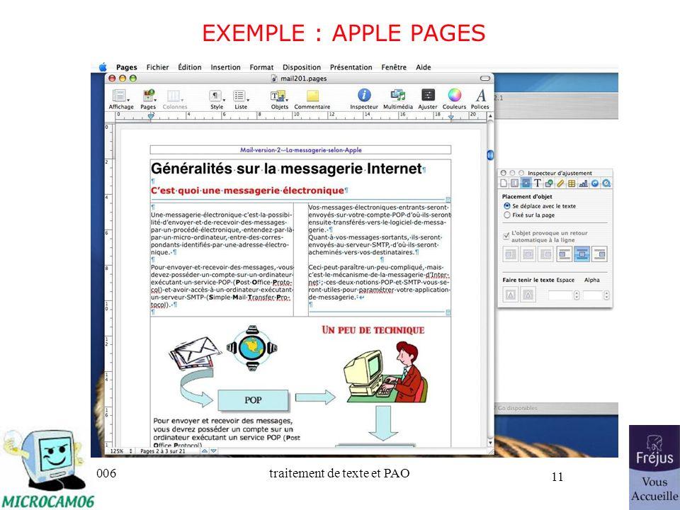 25/03/2017 EXEMPLE : APPLE PAGES Initiation au traitement de texte