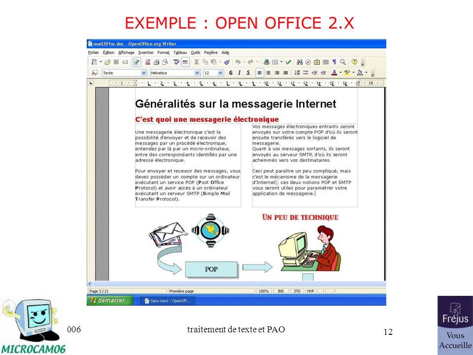 25/03/2017 EXEMPLE : OPEN OFFICE 2.X Initiation au traitement de texte