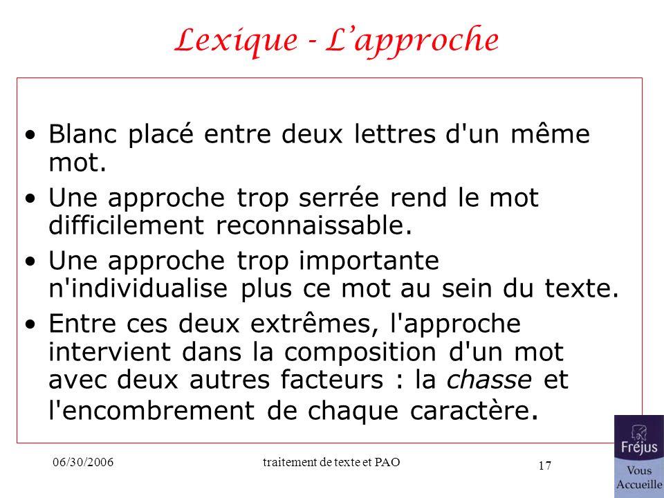 Lexique - L'approche Blanc placé entre deux lettres d un même mot.