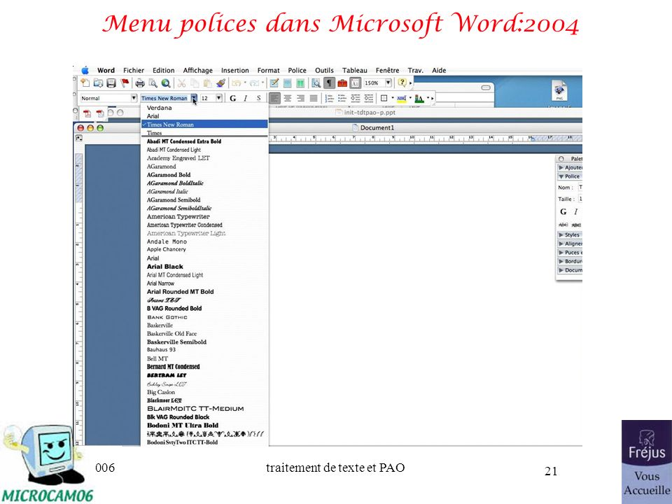 Menu polices dans Microsoft Word:2004