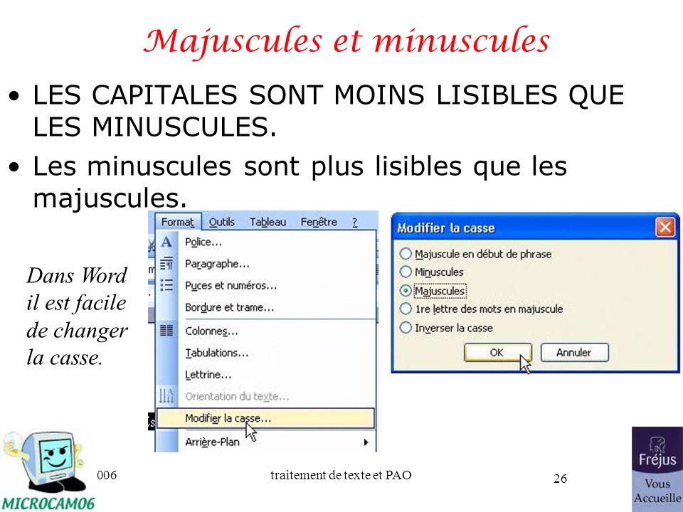 Majuscules et minuscules