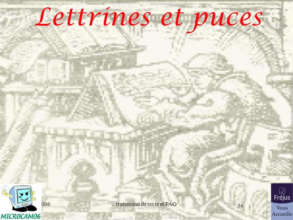 25/03/2017 Lettrines et puces Initiation au traitement de texte