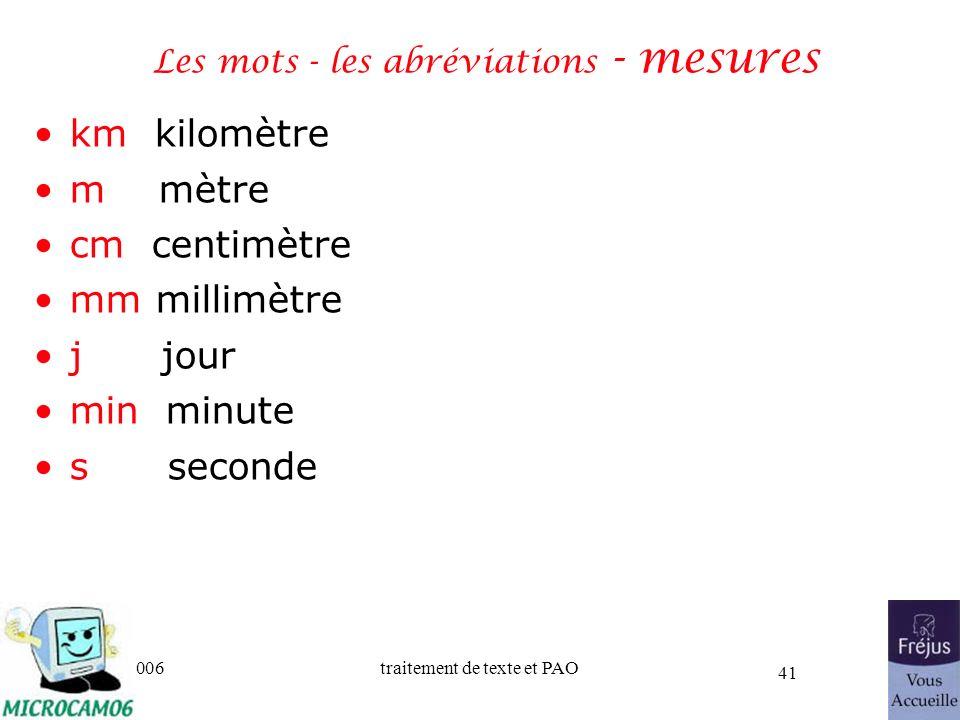 Les mots - les abréviations - mesures