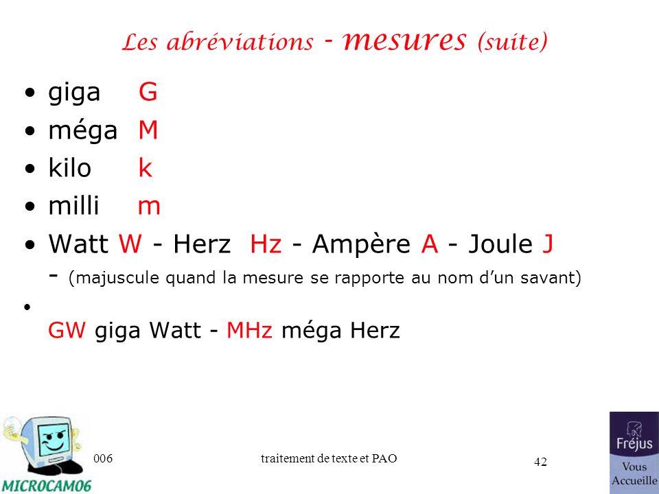 Les abréviations - mesures (suite)