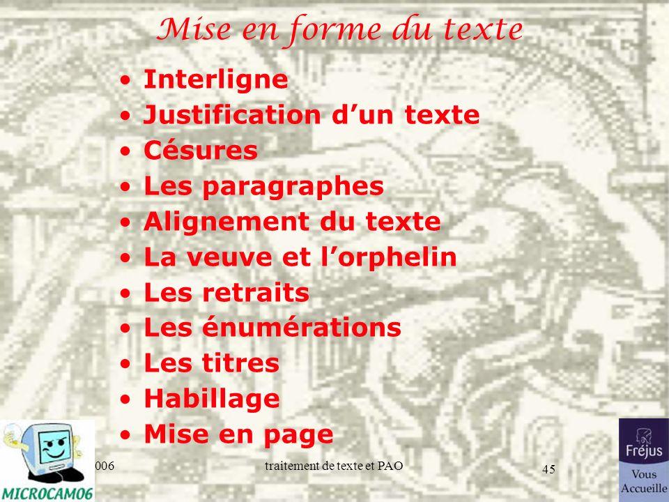 Mise en forme du texte Interligne Justification d'un texte Césures