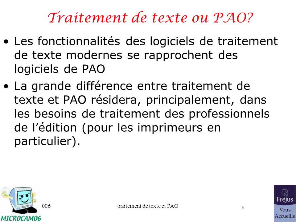Traitement de texte ou PAO