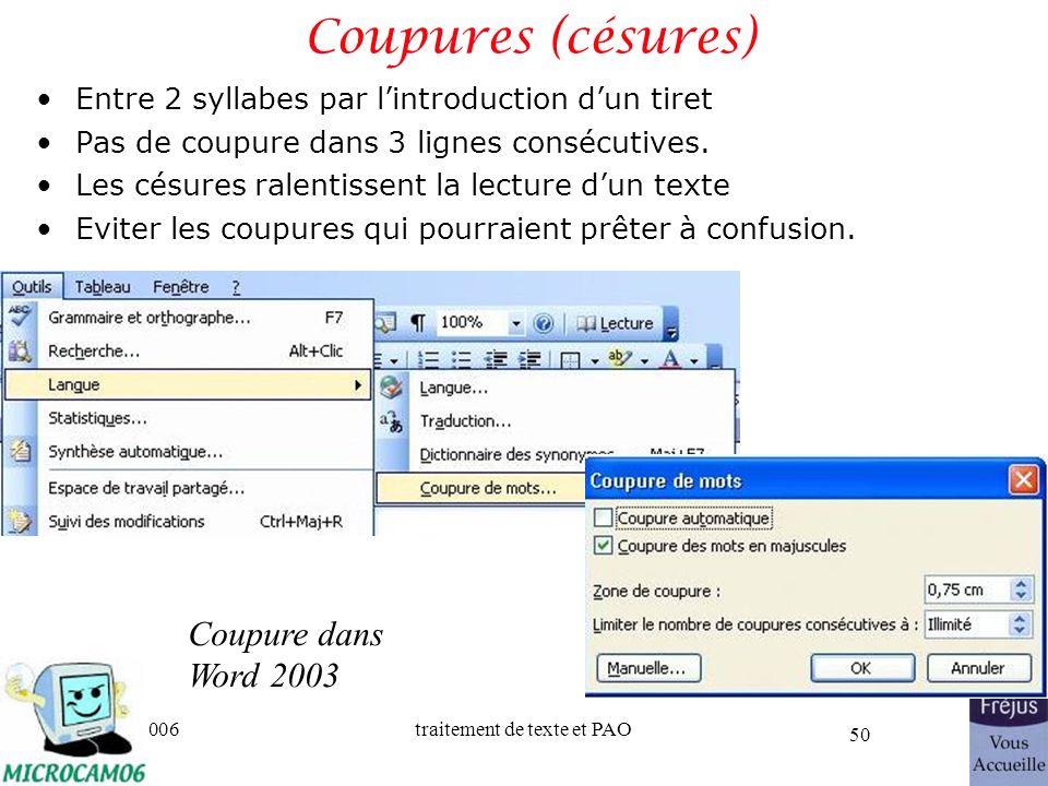 Coupures (césures) Coupure dans Word 2003