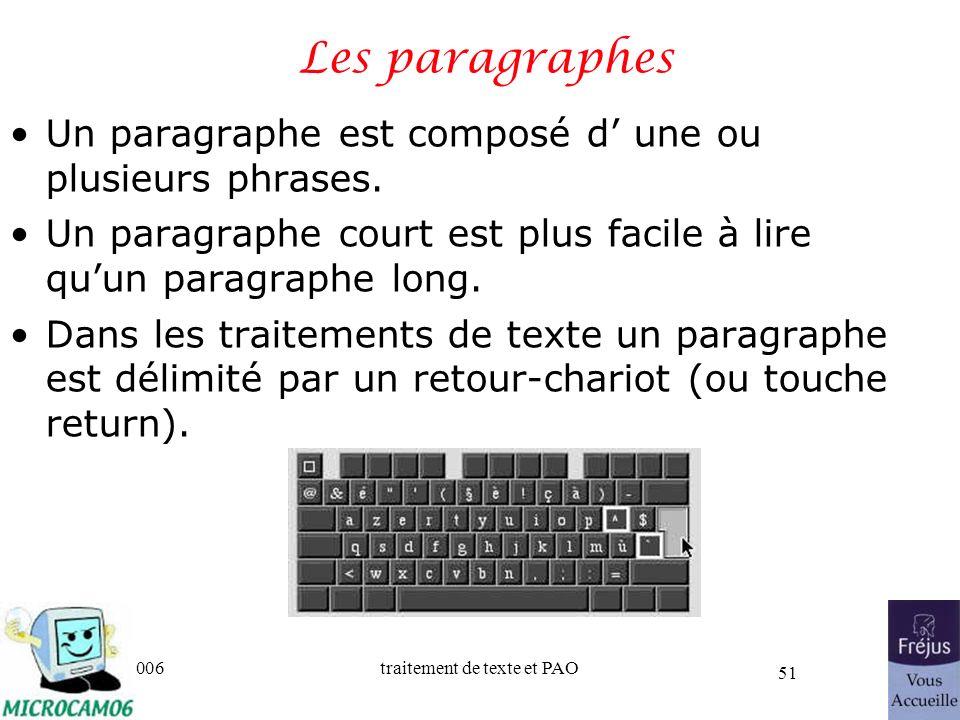 Les paragraphes Un paragraphe est composé d' une ou plusieurs phrases.