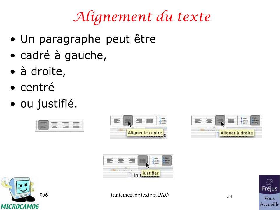 Alignement du texte Un paragraphe peut être cadré à gauche, à droite,