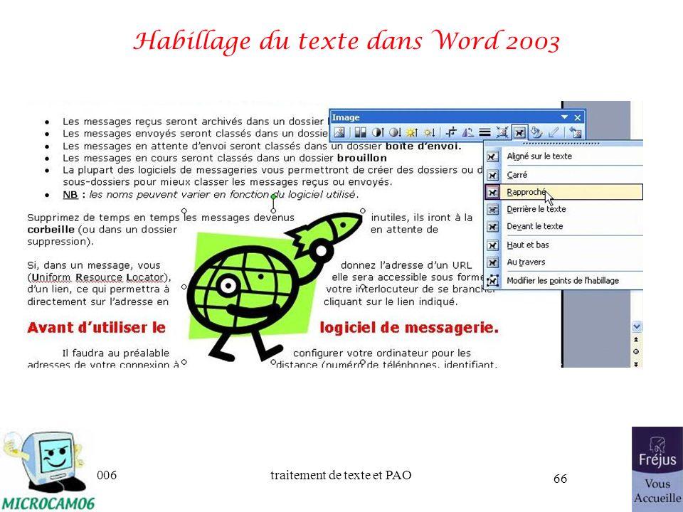 Habillage du texte dans Word 2003