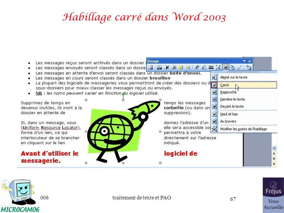 Habillage carré dans Word 2003