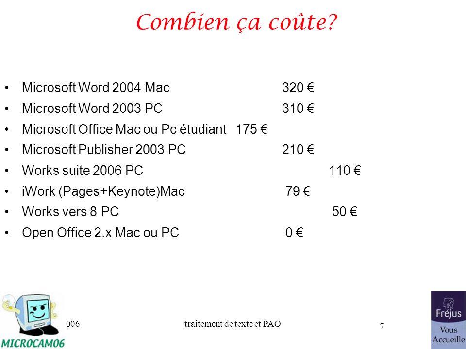 Combien ça coûte Microsoft Word 2004 Mac 320 €