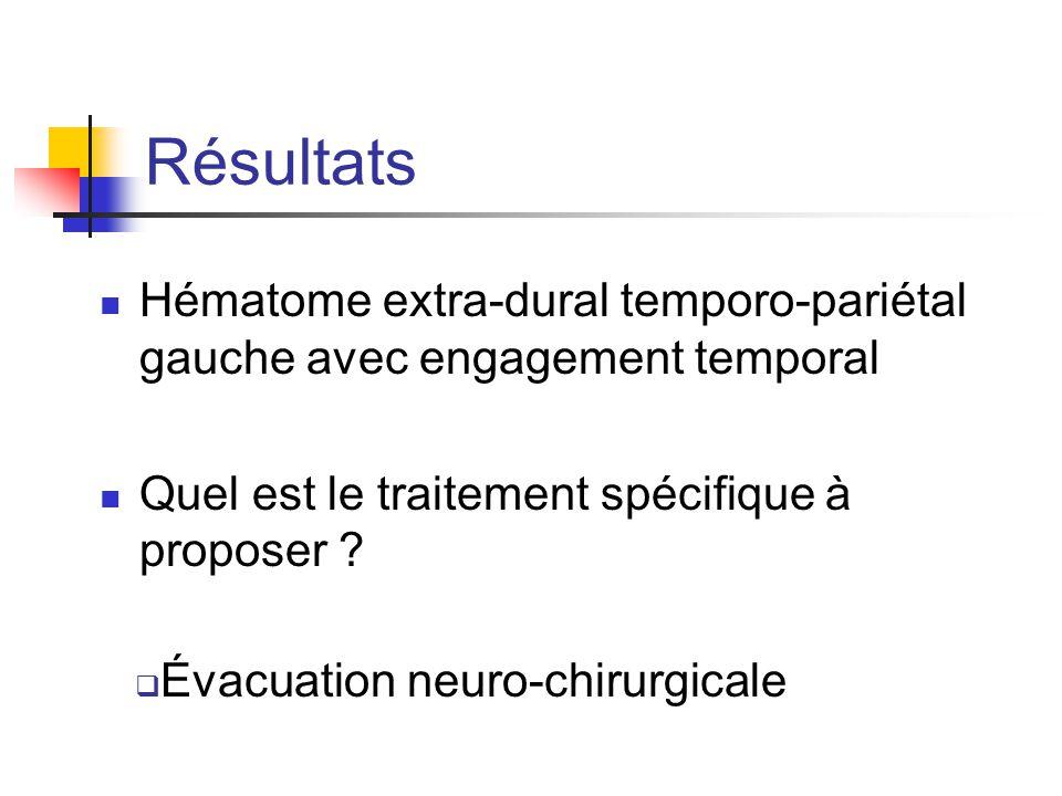 Résultats Hématome extra-dural temporo-pariétal gauche avec engagement temporal. Quel est le traitement spécifique à proposer