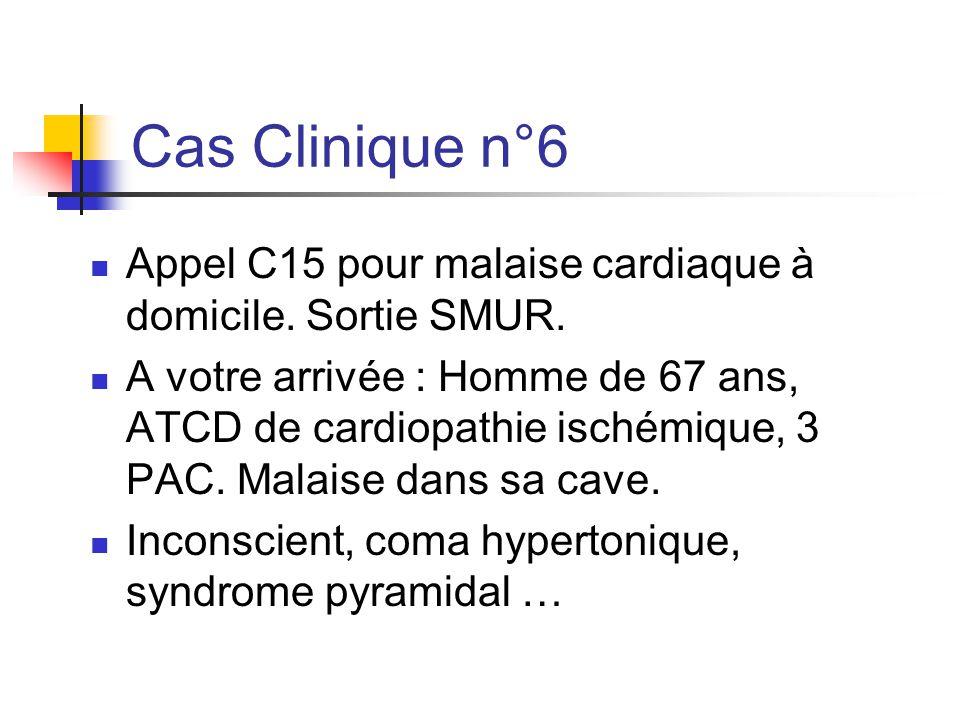Cas Clinique n°6 Appel C15 pour malaise cardiaque à domicile. Sortie SMUR.