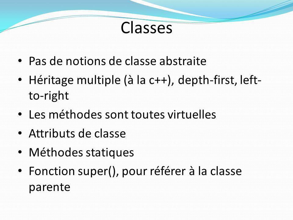 Classes Pas de notions de classe abstraite