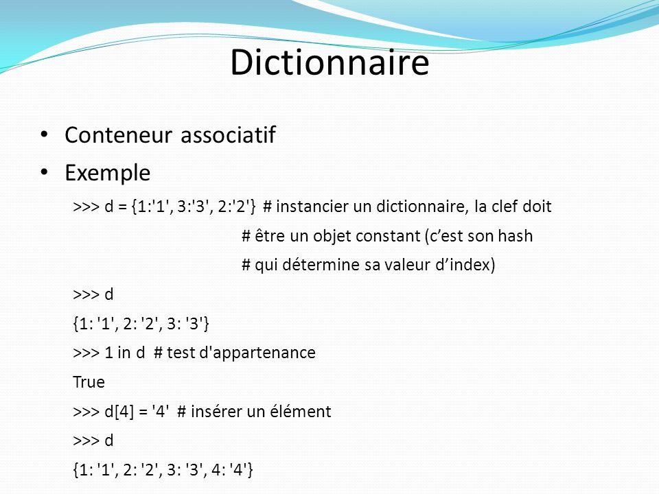 Dictionnaire Conteneur associatif Exemple