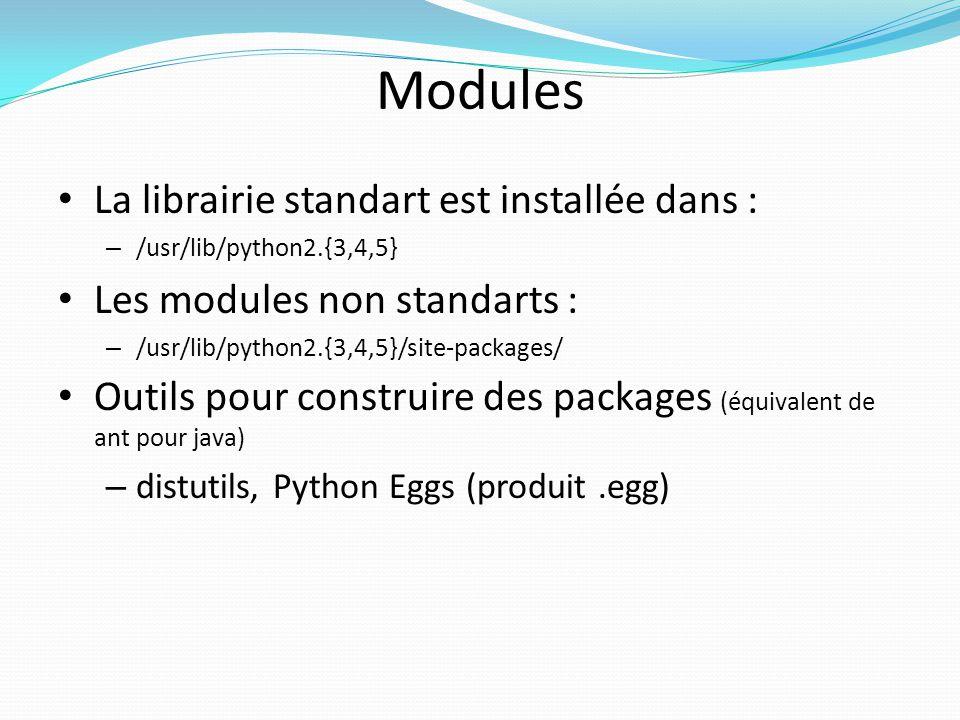 Modules La librairie standart est installée dans :