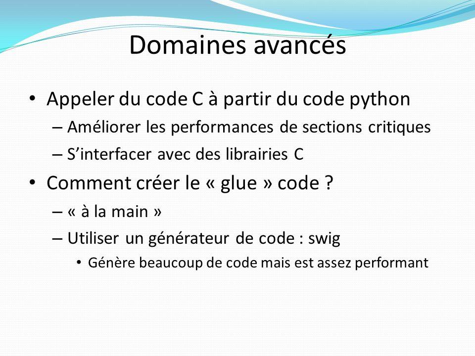 Domaines avancés Appeler du code C à partir du code python