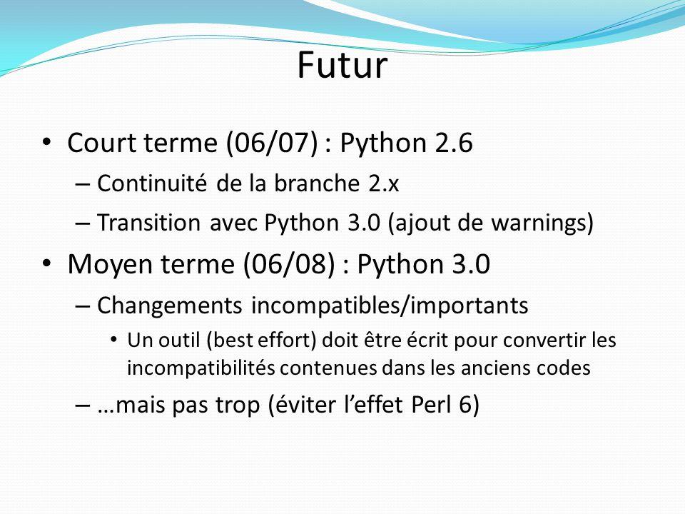 Futur Court terme (06/07) : Python 2.6