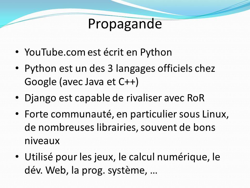Propagande YouTube.com est écrit en Python