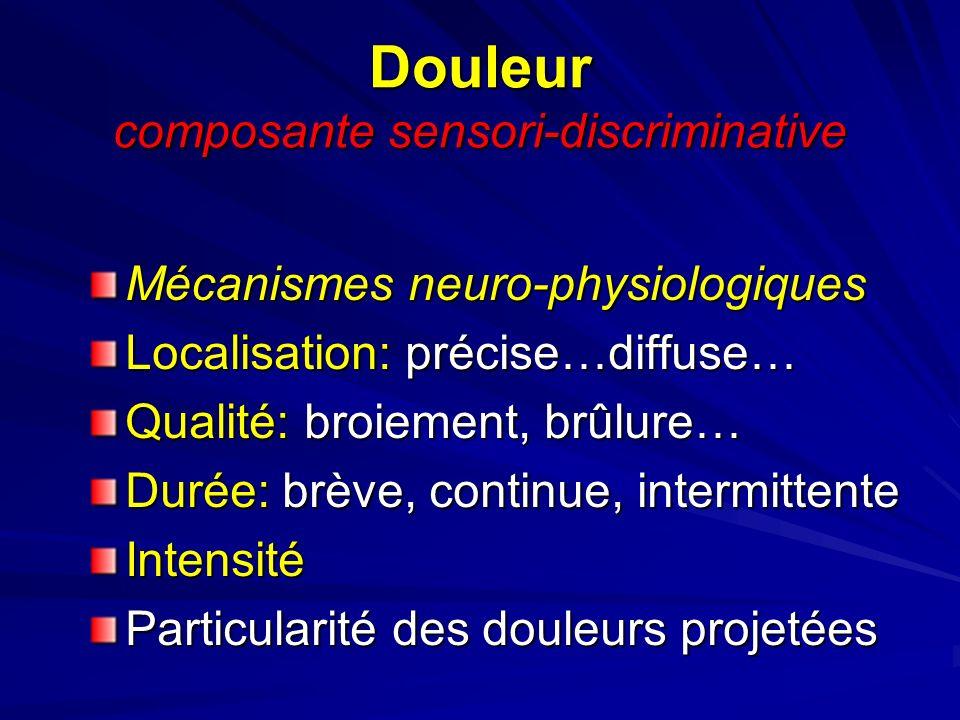 Douleur composante sensori-discriminative