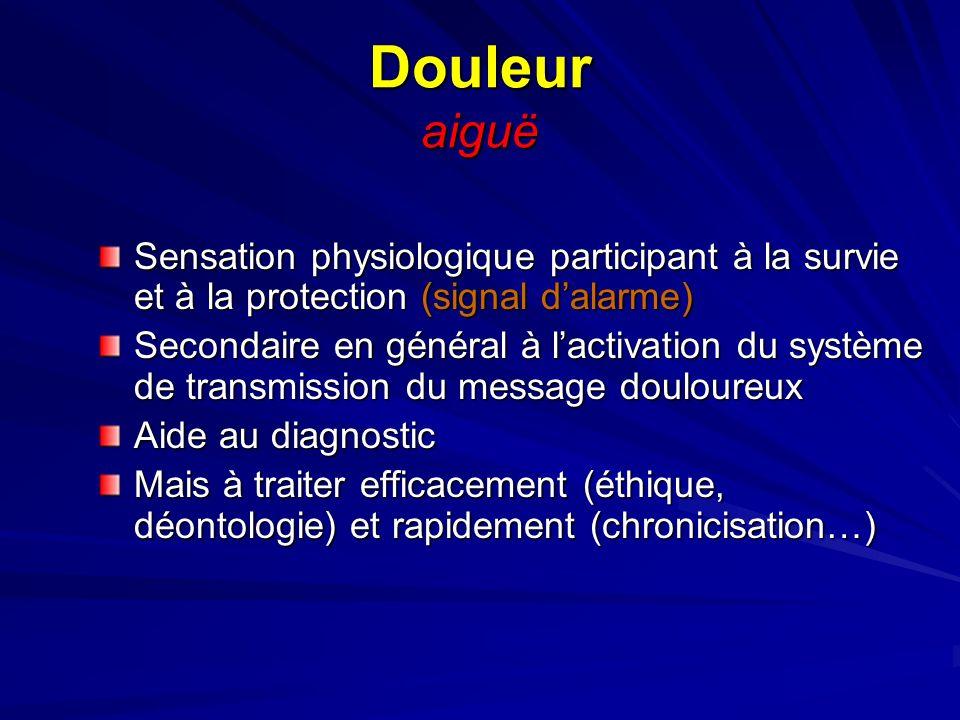 Douleur aiguë Sensation physiologique participant à la survie et à la protection (signal d'alarme)