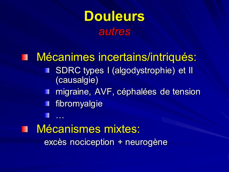 Douleurs autres Mécanimes incertains/intriqués: Mécanismes mixtes:
