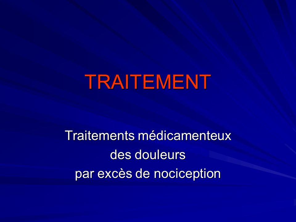 Traitements médicamenteux des douleurs par excès de nociception