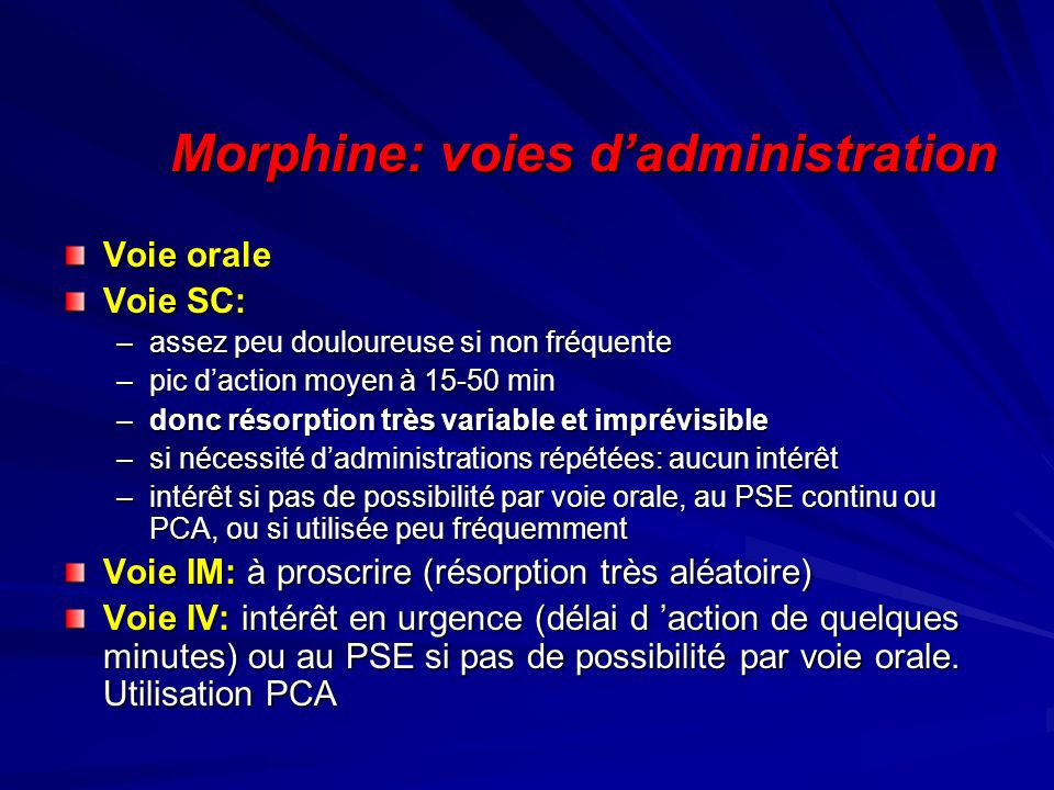 Morphine: voies d'administration