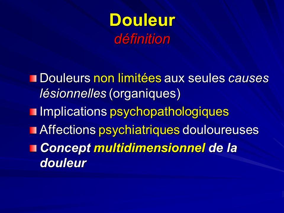 Douleur définitionDouleurs non limitées aux seules causes lésionnelles (organiques) Implications psychopathologiques.